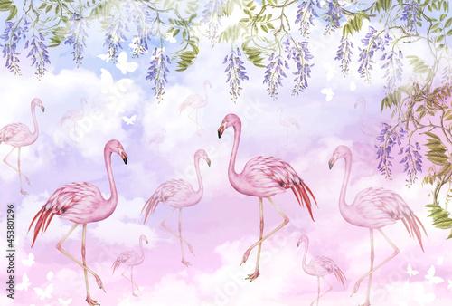 Fototapeta premium Mural for the walls. Photo wallpaper with flamingos. Tropical pattern with pink flamingos.