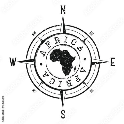 Billede på lærred Africa Stamp Map Compass Adventure