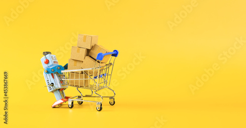 Canvas vintage classic robot and online shopping concept with shopping cart symbol