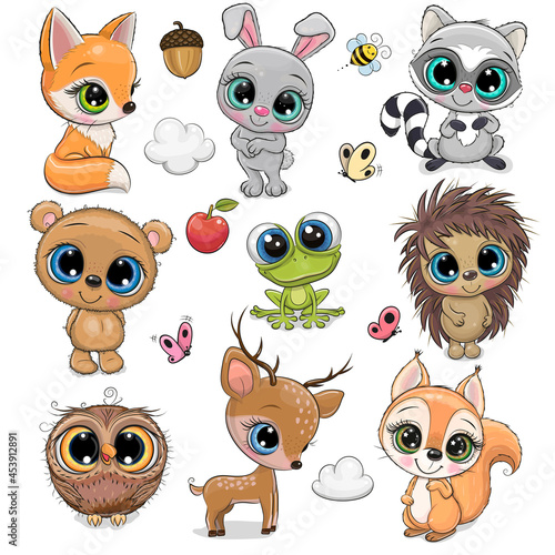 Fototapeta premium Cute Cartoon Animals on a white background