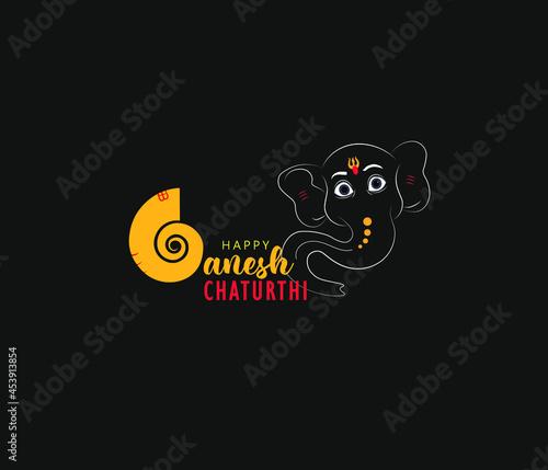 "Canvas Print Creative Hand Lettering Text ""Ganesh Chaturthi"" with God Ganesha Illustration on Dark Background for Happy Ganesh Chaturthi"