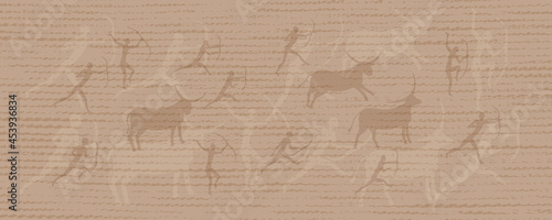 Valokuva Elegant vector delicate background in beige tones with canvas texture and drawings in the style of Lascaux cave