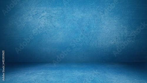 Foto Light Blue Grunge Cement Wall and Floor Studio Room Space Product Display Backgr