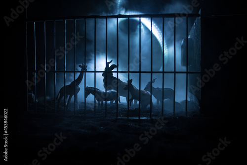 A group of animals are grouped together on a black background with glowing white rays Fototapet