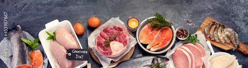 Fotografia Carnivore diet on dark background.