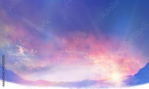Obraz na plátně コピースペースのある朝焼けの雲海の風景イラスト