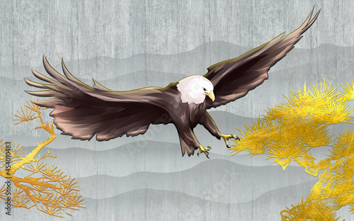 Fototapeta premium 3d illustration, abstract golden curved branches, bald eagle with spread wings on gray grunge background