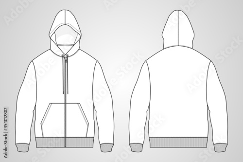 Billede på lærred Long sleeve hoodie with Zipper technical fashion Drawing sketch template front and back view