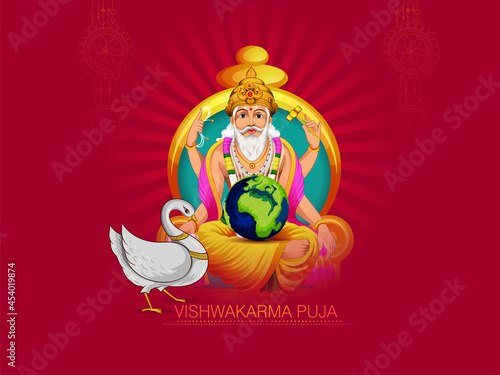 Tela illustration of Hindu God Vishwakarma, celebration for Vishwakarma Puja, a Hindu