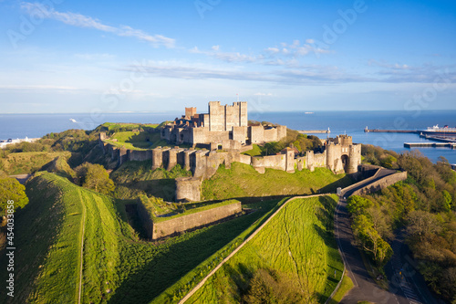 Obraz na plátně Dover, England, United Kingdom - May 10, 2021: Aerial view to Dover castle