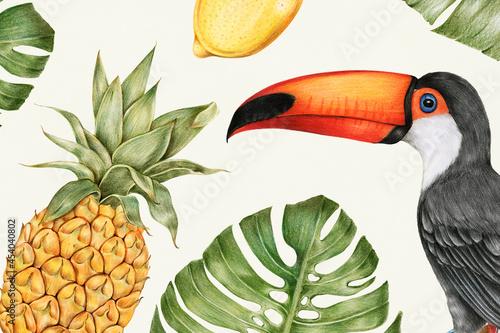 Fotografía Hand drawn tropical fruits illustration