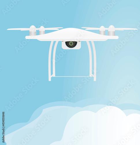 Tela White drone flying. vector illustration