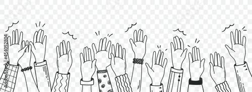Slika na platnu Vector hand drawn  illustration  human hands  waving isolated on white background