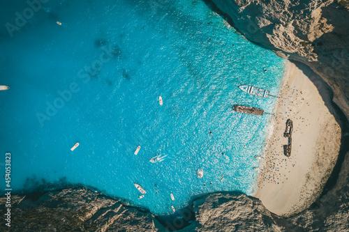 Obraz na plátně Aerial Drone Shot of the famous Shipwreck Bay in Zakynthos, Greece