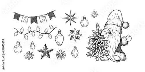 Fotografiet Hand drawn Christmas gnome in Santa Claus costume with Christmas tree and decorations