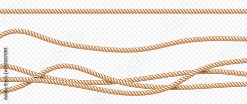 Fotografía Realistic vector fiber ropes set isolated on transparent background