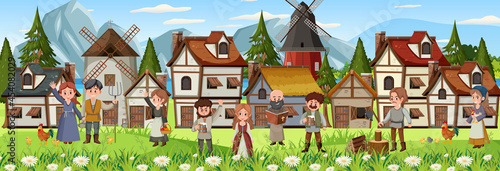 Fotografia Medieval town scene with villagers
