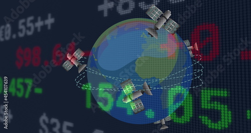 Image of financial data processing over satellites flying around globe