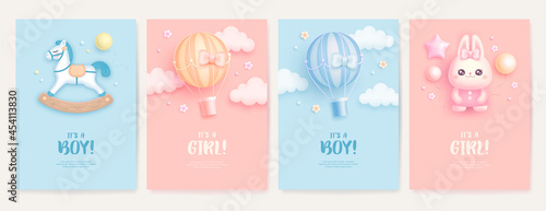 Canvastavla Set of baby shower invitation with cartoon horse, rabbit and hot air balloon on blue and pink background