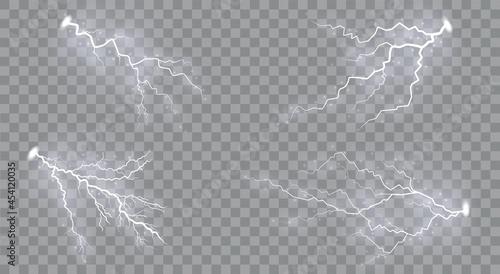 Fotografia Set of lightnings Magic and bright lighting effects.