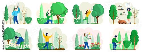 Stampa su Tela Seasonal gardening with characters of gardeners working in outdoor garden scenes set with people growing plants and flowers