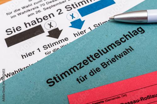 Fotografia Bundestagswahl 2021 - Wahlschein ankreuzen - Briefwahl
