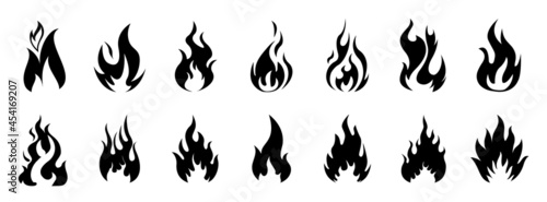 Valokuva Fire icons for design in flat style flames, icon set