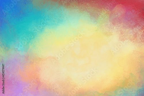 Fotografie, Obraz Colorful watercolor background of abstract sunset sky with puffy clouds in brigh