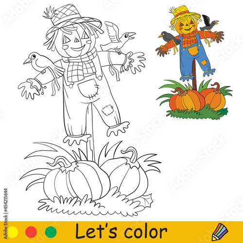 Photo Coloring with template Halloween scarecrow and crows