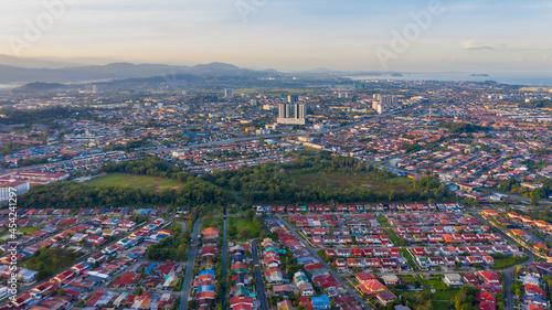 Fotografie, Obraz Bird eyes view of local housing houses