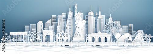 Obraz na płótnie Panorama view New York City, United States of America skyline with world famous landmarks in paper cut style vector illustration