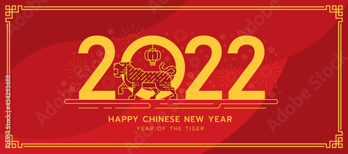 Fotografia chinese new year banner - abstract gold line shape modern tiger zodiac standing