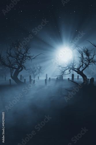 moon light in dark graveyard at night Fototapeta