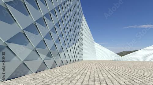 Fotografía Circular Building Architectural Background. 3d Rendering