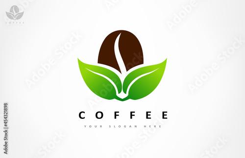 Stampa su Tela Coffee bean and leaf logo vector design.
