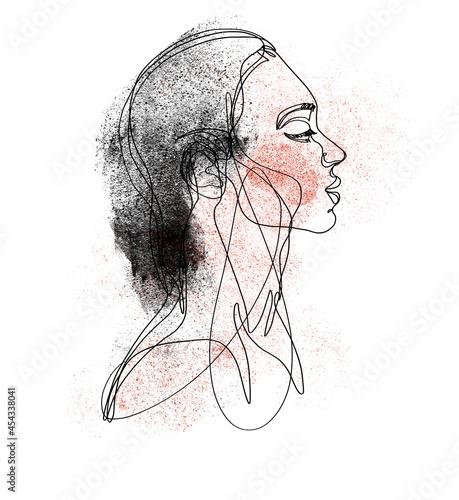Dziewczyna z profilu, rysunek linearny na białym tle z czarno czerwoną fakturą. Uroda, piękno, grafika na ścianę, plakat, nadruk na tkaninę , t shirt