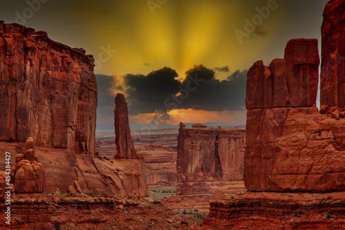 Fototapeta sunset in the desert at pillar formations