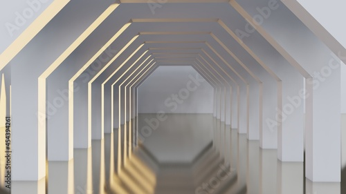 Slika na platnu Architecture interior background geometric arched passage 3d render