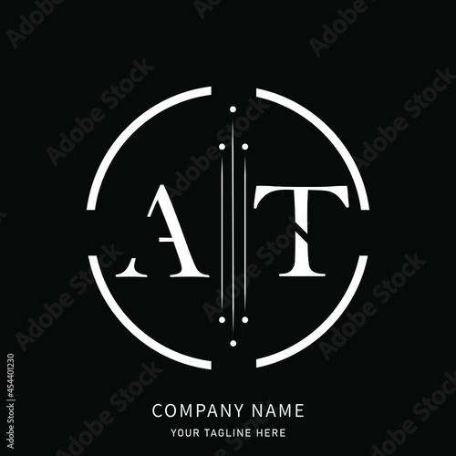 Canvas AT A T letter logo design. ta logo.