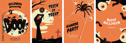 Fototapeta Halloween posters collection with different scary illustrations in orange and black colours