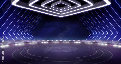 Canvas Full shot of a modern, virtual TV show background, ideal for artistic tv shows, tech infomercials or launch events