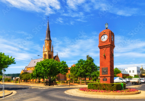 Canvas Mudgee clock church towers