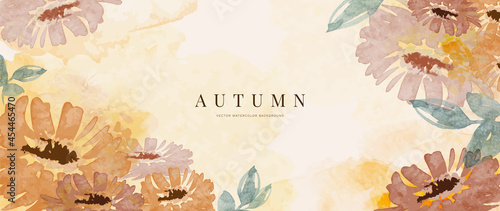 Foto Autumn background design  with watercolor brush texture, Flower and botanical leaves watercolor hand drawing