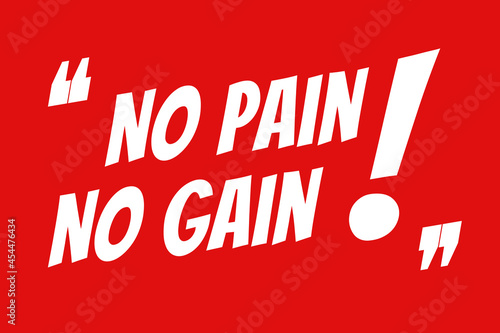 Fototapeta No Pain No Gain typography poster design in red and white colors