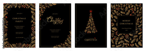 Canvas Merry Christmas and Happy Holidays cards with New Year tree, floral frames and backgrounds design