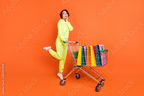 Fotografie, Tablou Full length body size view of nice amazed funny girl carrying cart bags clothes