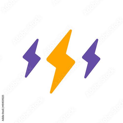 Fotografia Rainstorm lightning flat glyph icon. Weather sign