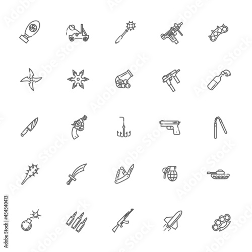 Photo Weapons vector icons set, Arms solid symbol