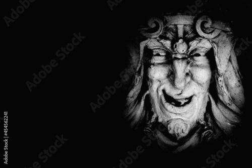 Fotografija Monster face of Greek antique god daimon of eager rivalry, envy, jealousy, and zeal Zelus (Zelos)