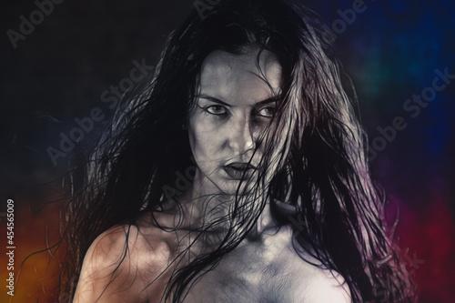 Billede på lærred Close up portrait of a scary zombie woman.